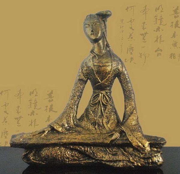 [協貿國際]青銅金撫琴侍女擺飾單個價