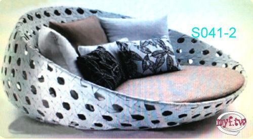【南洋風休閒傢俱】設計單椅系列- 橢圓躺床 造型躺床 戶外躺床 仿藤躺床 塑料藤躺床(S041-2)