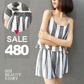SISI【E6032】簡約休閒時尚細肩吊帶寬鬆灰白條紋背心上衣+鬆緊腰寬管短褲套裝
