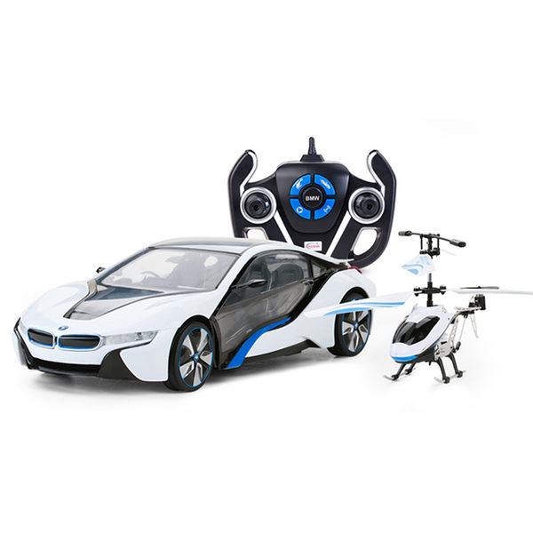 【Mariotoys瑪琍歐 兒童電動車】RASTAR 遙控車飛機互動套裝-BMW i8(白) (49600-14)