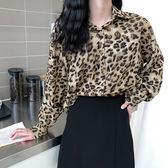 雪紡豹紋襯衫女洋氣韓國潮復古設計感小眾心機韓版上衣打底衫288DC252-C依佳衣