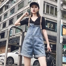 牛仔背帶褲女夏季新款韓版寬鬆顯瘦百搭短褲時尚減齡闊腿連體褲潮 快速出貨