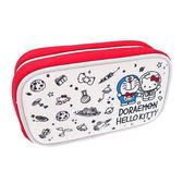 白色款【日本進口正版】哆啦A夢 x Hello Kitty 立體防震化妝包 收納包 筆袋 小叮噹 凱蒂貓 - 412661