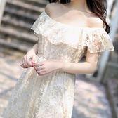 度假沙灘仙女顯瘦洋裝連身裙刺繡鉤花蕾絲一字領露肩長裙 森雅誠品