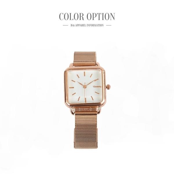 手錶 方形鏡面刻度玫瑰金腕錶-BAi白媽媽【316010】