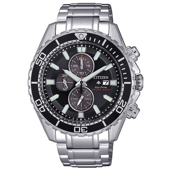 CITIZEN 噴射時尚光動能三眼腕錶-銀X黑