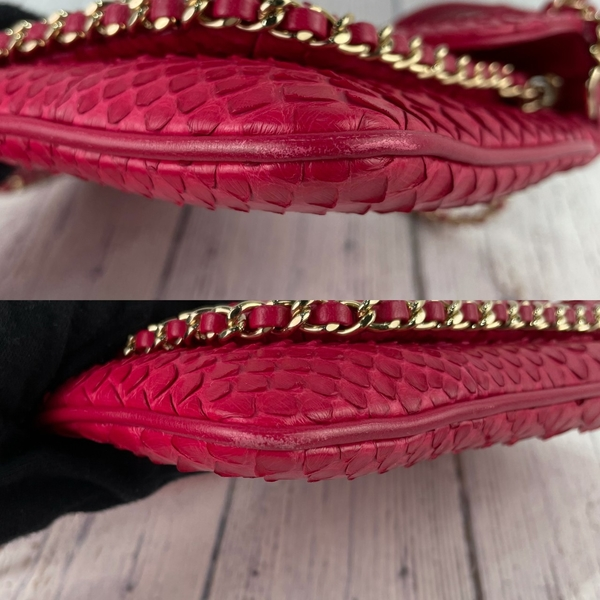 BRAND楓月 CHANEL 香奈兒 23開 絕版蛇皮 桃紅色X淡金釦 大雙C 腋下包 斜背包 兩用包