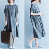 大尺碼女裝夏裝胖妹妹中長版寬鬆顯瘦遮肉短袖200斤胖mm連身裙洋裝