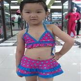 泳衣 繽紛點點 女童2件式比基尼泳衣 紫色