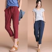 漫步生活☆[LA-B5111] 輕文藝。素色綁帶亞麻九分褲(M~XL)