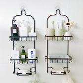 全館83折 浴室免打孔置物架衛生間鐵藝收納架廚房多層整理掛架壁掛式儲物架