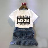 韓版童裝女童寶寶字母蕾絲短袖t恤甜美打底上衣2020夏季新款潮款 快速出貨