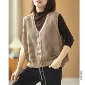 棉線針織馬甲 抽繩針織背心 V領無袖針織衫/4色-夢想家-0913