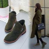 2018秋冬新款短靴女低跟馬丁靴女英倫百搭加絨平底切爾西小短靴子  初見居家