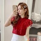 無袖襯衫2021年新款夏季蕾絲拼接氣質紅色雪紡衫荷葉邊襯衫女法式無袖上衣 愛丫 新品