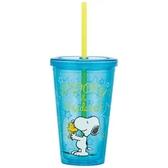 〔小禮堂〕史努比 附蓋透明塑膠吸管杯《藍黃.抱抱》500ml.隨手杯.飲料杯 4973307-42896