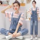 夏季2020流行韓版寬鬆洋氣減齡牛仔背帶褲兩件套裝女網紅薄款工裝 OO10098『黑色妹妹』