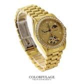 鏤空水鑽金色自動上鍊機械腕錶 獨立秒盤 擺輪手錶 范倫鐵諾Valentino 柒彩年代 【NE1124】公司貨