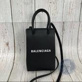 BRAND楓月 BALENCIAGA 巴黎世家 593826 黑色真皮 迷你 手機袋 購物包 斜背包 手提包