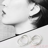 耳環純銀耳環2021新款潮男女小圓圈耳圈耳釘2021耳飾品銀飾耳骨環耳扣  新品