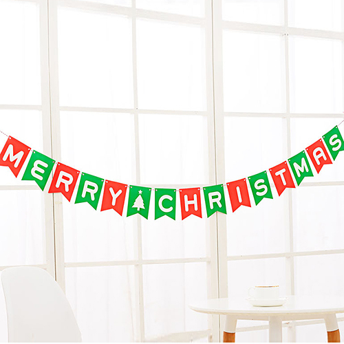 Merry Christmas聖誕快樂小彩旗 15枚入 派對 布置 聖誕彩旗 彩旗
