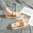 仙女風拖鞋女外穿2021年夏新款韓版網紅一字型厚底鬆糕沙灘涼拖鞋「時尚彩紅屋」