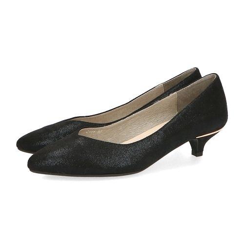 【ORiental TRaffic】百搭V口尖楦中跟鞋-百搭黑