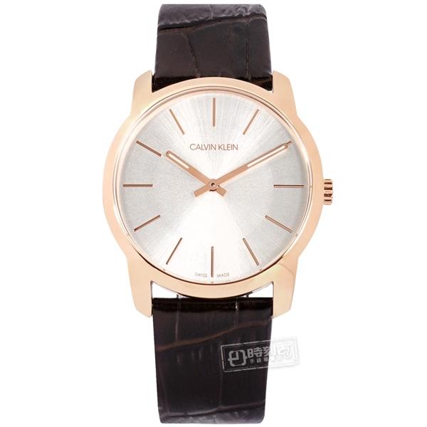 CK / K2G226G6 / 簡約時尚 礦石強化玻璃 壓紋皮革手錶 銀x玫瑰金框x深褐 37mm