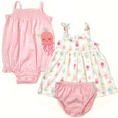 Carter s 無袖洋裝套裝 細肩帶連身裙+兔裝包屁衣+內褲三件組粉水母 女寶寶【CA121I182】