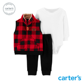 【美國 carter s】美式格紋背心3件組套裝-台灣總代理