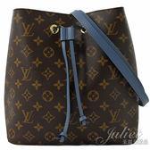 Louis Vuitton LV M43569 Neonoe 經典花紋肩斜兩用水桶包.牛仔藍 全新 現貨【茱麗葉精品】