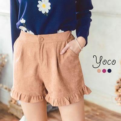 東京著衣【YOCO】荷葉滾邊打褶短褲-S.M.L(6025410)