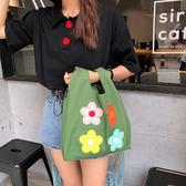 帆布袋 花朵 貼布 手提包 帆布袋 單肩包 綁帶 斜背包 購物袋--單肩/斜跨【SP9733】 BOBI  08/29