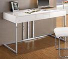 【森可家居】麥爾斯4尺書桌 8CM892-2 (不含椅) 白色 亮面烤漆 簡約 北歐風