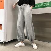 花田櫥窗寬管褲子女寬鬆休閒衛褲束腳顯瘦薄款夏夏燈籠灰色運動褲 【端午節特惠】
