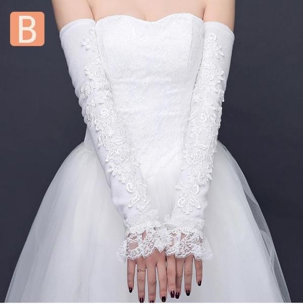 新娘婚紗手套蕾絲加長款加絨女