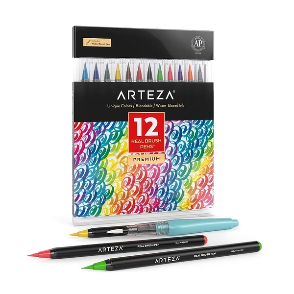 Arteza 12色畫筆 ARTZ-8190 無毒 ACMI認證 Professional Watercolor Pens for Painting [2美國直購]