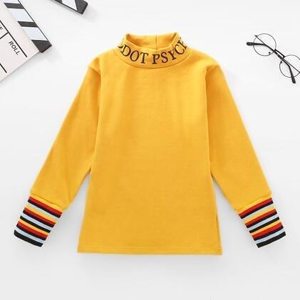 女童上衣 女童打底衫2021新款秋裝長袖上衣兒童春秋薄款洋氣中大童加絨【快速出貨八折鉅惠】