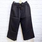 棒棒糖童裝(Y0688)女裝鬆緊腰抽繩黑色素面寬筒九分褲 F