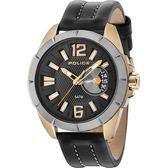 【台南 時代鐘錶 POLICE】義式潮流 厚實質感剛毅性格時尚腕錶 15240JSKU-02 皮帶 金/黑 46mm