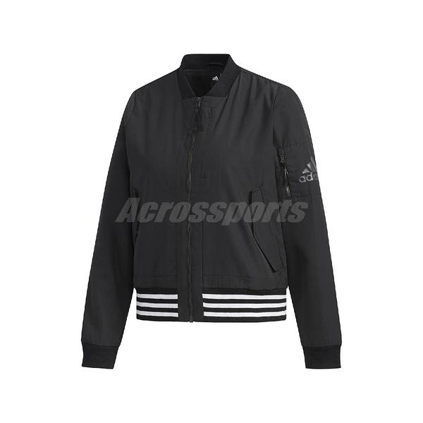 adidas 外套 WV 3S Bomber Woven Jacket 黑 白 女款 飛行外套 運動休閒 【PUMP306】 FI9284