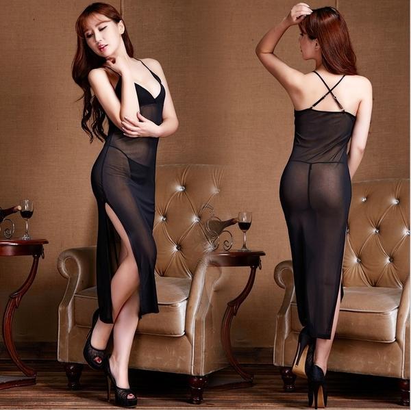 歐美睡衣長裙透明款吊帶情趣內衣大碼網紗裝連體1182