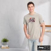 【JEEP】3D立體圖騰刺繡短袖TEE(灰色)