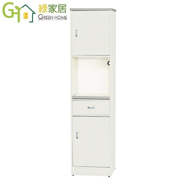 【綠家居】波仕 環保1.5尺南亞塑鋼二門單抽層架高餐櫃/收納櫃