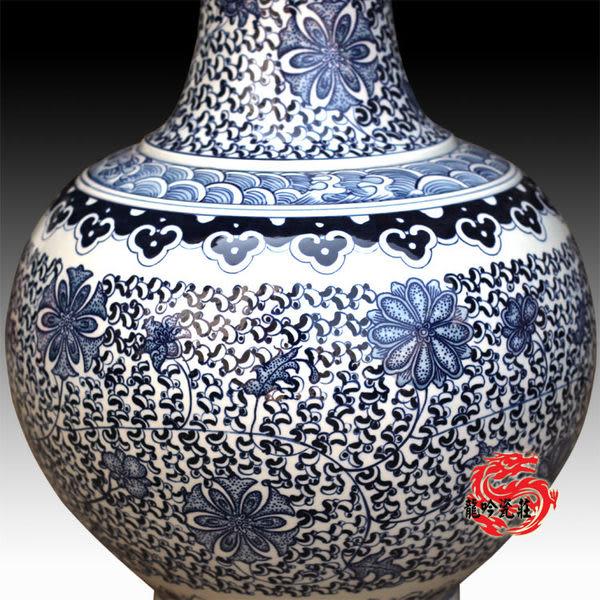 居家裝飾手繪 青花瓷 大號賞瓶 高53cm