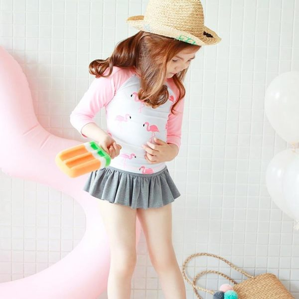 韓國兒童防曬分體泳衣女童速干長袖水母衣學生潛水服寶寶泳衣套裝