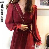 碎花洋裝2021年新款秋款法式長袖氣質長款雪紡裙子收腰顯瘦紅色碎花連身裙  曼慕