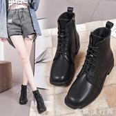 馬丁靴 2020新款秋冬單靴百搭機車靴短靴女方頭低跟系帶學生短筒馬丁靴女 歐歐