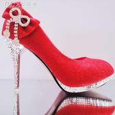 婚禮鞋 百搭女婚鞋紅色蝴蝶結新娘鞋細跟高跟防水台亮片單鞋「七色堇」