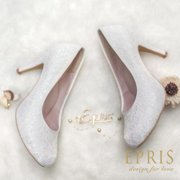 現貨 MIT小中大尺碼婚鞋內增高推薦 和風女神 日系蕾絲高跟鞋 21-26 EPRIS艾佩絲-閃耀白